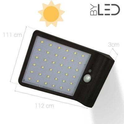 Applique LED solaire à détecteur - Noire - Blanc pur - 4W - SOLAR 4