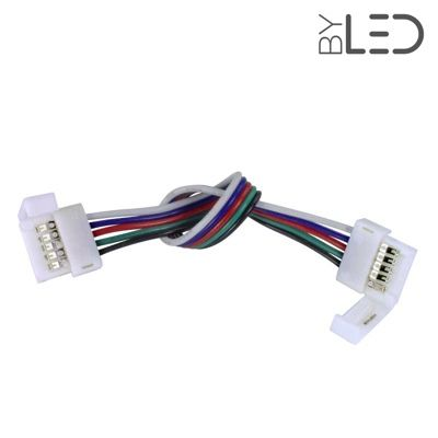 Connecteur ruban LED RGB+W 12mm Click + câble 15 cm + click