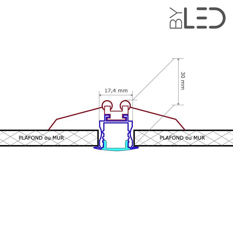 profil pour ruban led encastrable longueur 1m 2m ou 3m. Black Bedroom Furniture Sets. Home Design Ideas