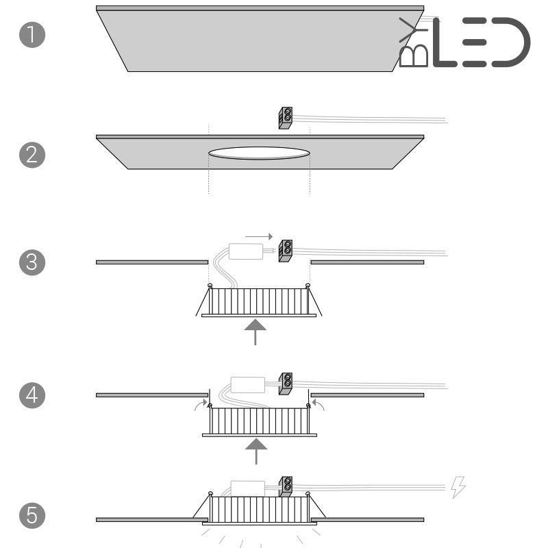 spot fixe et encastrable led 7 watts conforme rt2012 bbc byled. Black Bedroom Furniture Sets. Home Design Ideas