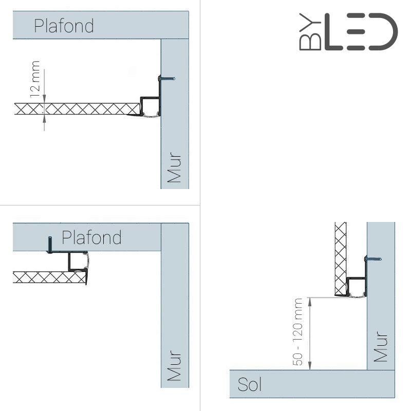 profil led pour faux plafond ou cloison aluminium diffuseur opaque. Black Bedroom Furniture Sets. Home Design Ideas