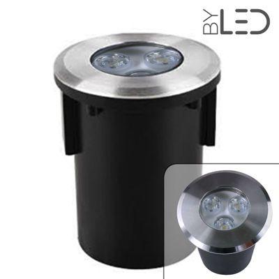 Spot LED encastré de sol rond inox 3W - 230V - QINOX 92 mm