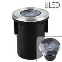 Spot LED encastré de sol rond inox 3W - 12V - QINOX 92 mm