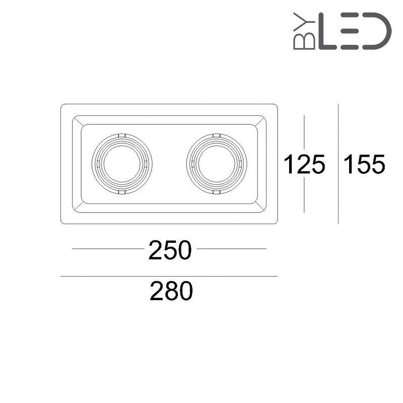 plafonnier en pl tre encastrable spot double encastrable orientable byled. Black Bedroom Furniture Sets. Home Design Ideas