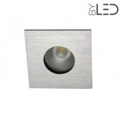 Spot encastrable collerette carrée flat SPLIT - Alu brossé