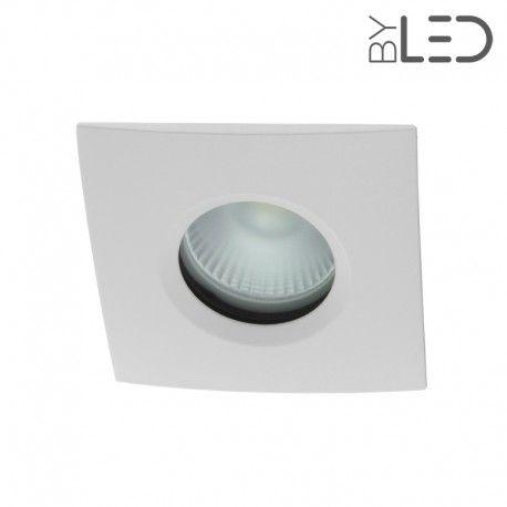 Spot encastrable collerette carrée chanfrein SPLIT - Blanc mat