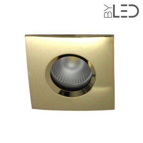 Spot encastrable collerette carrée chanfrein SPLIT - Or brillant