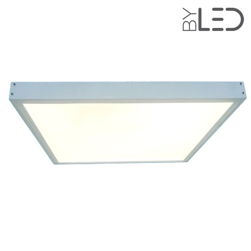 Dalle led 600x600 43 w blanc chaud cadre blanc for Dalle led pour garage
