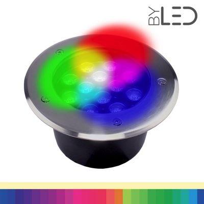 Spot LED encastré de sol inox 24V 12W - Terra 12 - RGB