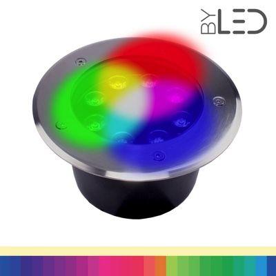 Spot LED encastré de sol inox 24V 8W - Terra 8 – RGB + Blanc chaud