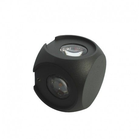 Applique LED murale cube 4 directions 4x1W - Anthracite - Kubbe