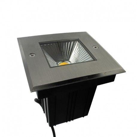 Spot LED encastré de sol carré inox 5W - 230V - QINOX 120mm