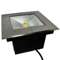 Spot LED encastré de sol carré inox 20W - 230V - QINOX 210mm