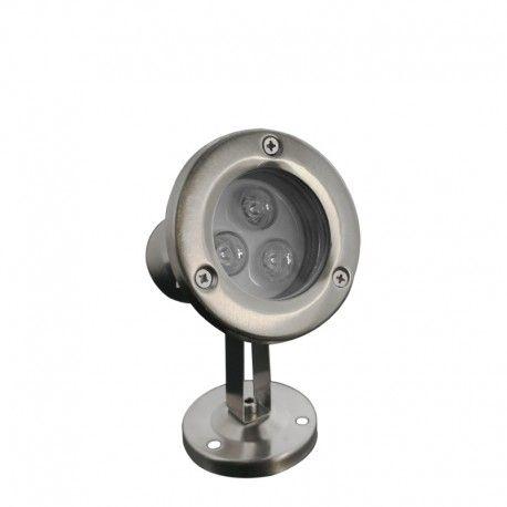 Spot LED encastré de sol immergeable inox 3W - 12V - Hydro 90mm