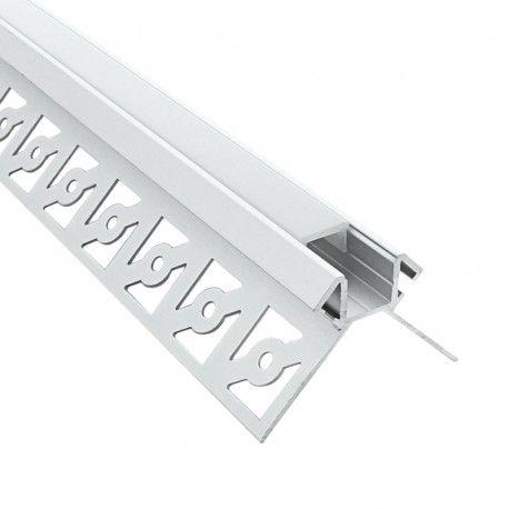 Profilé d'angle LED aluminium encastrable 270° à carreler - CRAFT - E14 - Diffuseur givré