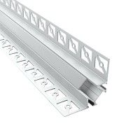 Profilé d'angle aluminium encastrable 90° à carreler pour ruban LED - Diffuseur givré - E13 - CRAFT