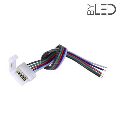 Connecteur ruban LED RGB+W 12 mm câble 15 cm + click