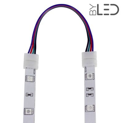 Connecteur ruban LED RGB 10mm Click + câble 15 cm + click