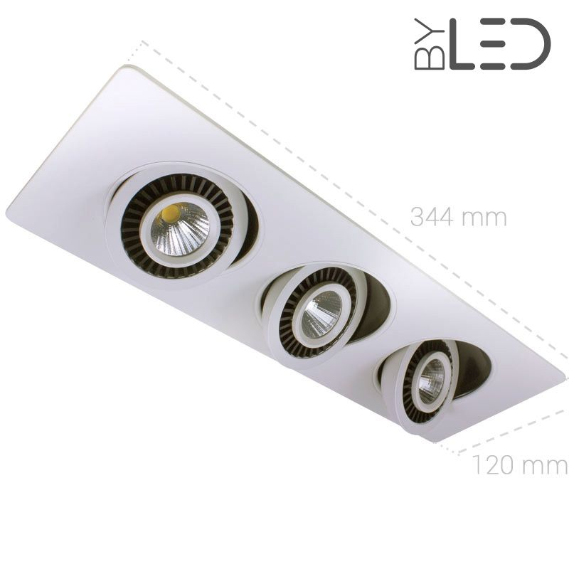 spots orientables led encastrer au plafond 3 x 7 watts. Black Bedroom Furniture Sets. Home Design Ideas
