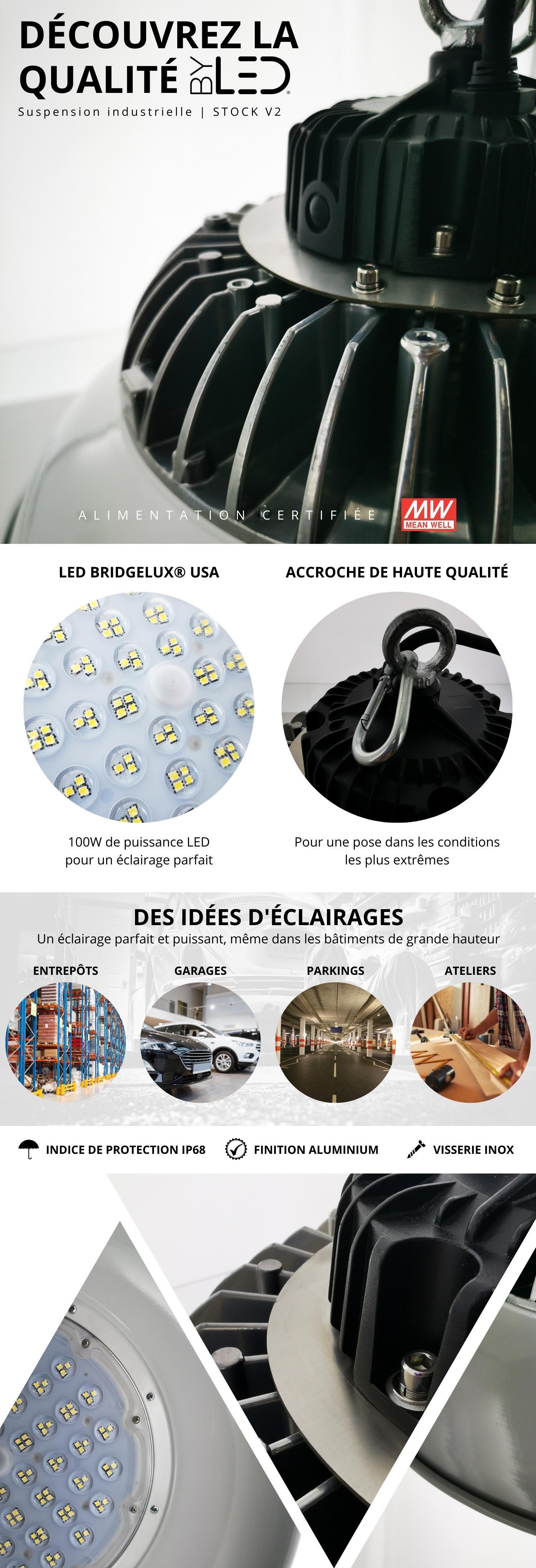 Suspension industrielle LED entrepôts